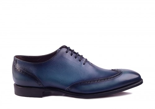 Barker Tennyson Blue/Print Oxford,whole cut, wholecut, lotnik,